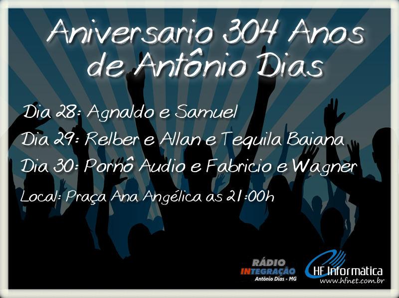Aniversário da cidade de Antônio Dias dia 1 de junho